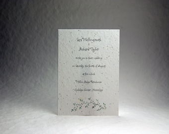 5x7 inch Custom Printed Invitation Panels - White Cotton Seed Paper Garden Sprig set of 6