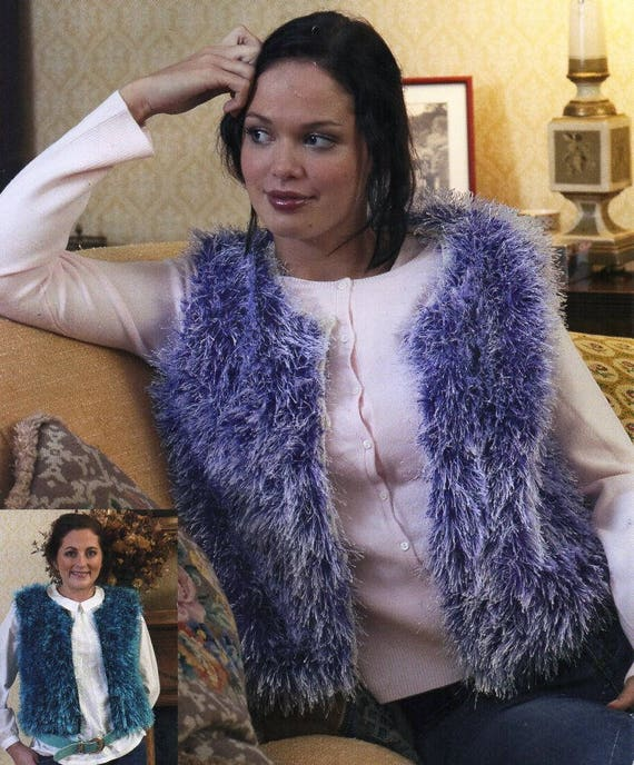 womens faux fur gilet waistcoat knitting pattern pdf download