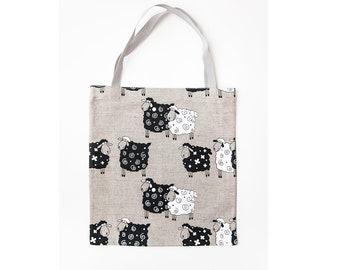"""Linen Market Bag - Lucky Sheep. Size: 13"""" x13"""""""