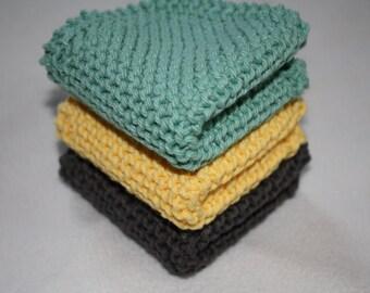 Knit Dish Cloth Set of 3, Knit Wash Cloth, Yellow, Gray