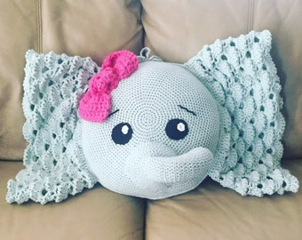 Elephant Pillow with Bow, Crochet Pillow Pet, Stuffed Elephant, Amigurumi Decoration, Nursery Decor, Baby Shower Gift, It's A Girl Present