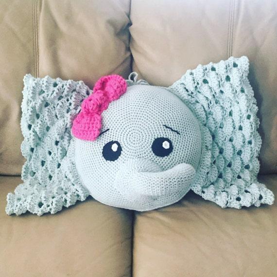 Elephant Pillow With Bow Crochet Pillow Pet Stuffed