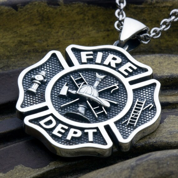 Large maltese cross fire department sterling silver necklace aloadofball Gallery