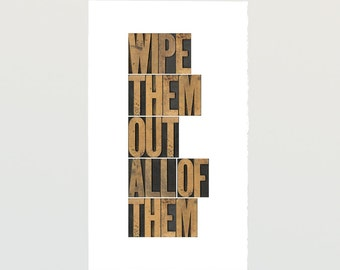 Wipe them out All of them Movie Poster - PRINTABLE FILE - Star Wars quote letterpress poster starwars download
