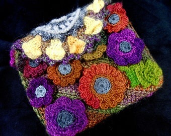 Garden Dreams Freeform Crochet Bag fiber art clutch purse flowers leaves