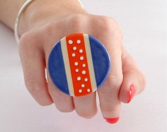 Adjustable Ceramic  Ring - oversize bold handmade geometric cocktail ring - NEON DELIGHT - 1.9 inch
