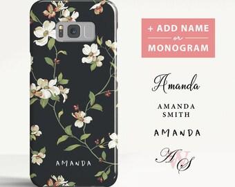 Floral Samsung Galaxy S8 case Samsung Galaxy S9 case Samsung Galaxy S8 Plus case Personalised Initials Phone case for Samsung. (FL01)
