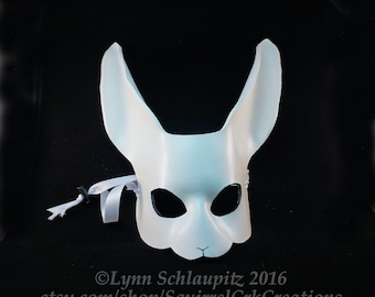 Rabbit Mask, Animal mask, Leather, White, Mardi gras, Leather mask, Bunny, LARP , Cosplay, Fantasy, Rabbit costume. DIY, White Rabbit