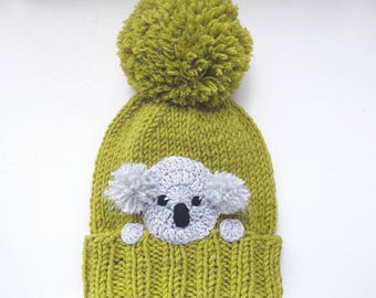 Koala Hat, Knit Hat, Winter Hat, Pom Pom Hat, Kids Outfit, Girls Accessories, Women Hat, Knit Beanie, Winter Fashion, Cute Hat, Animal Hat