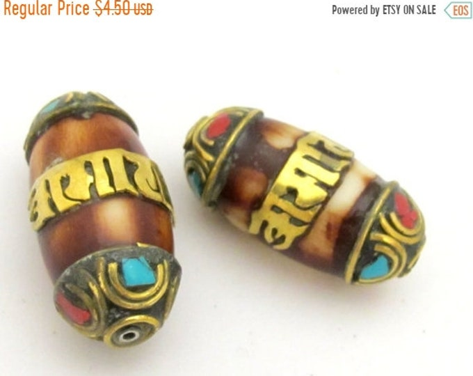 SALE 1 BEAD - Tibetan bone bead with brass inlaid Om mantra and coral turquoise inlaid brass cap- BD713A