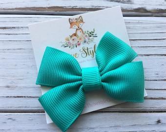 Teal Pinwheel Bow Hair Clip, Teal Hair Bow, Hair Clip, Girls Bow, Ribbon Hair Bow, Green Hair Bow, Ribbon Bow, Ribbon Bow Headband, Hair Tie