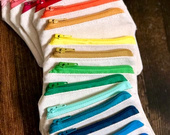 Mini Natural Cotton Canvas Zipper Pouch/Coin Purse/Wallet with Colored Zipper