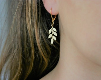 Romantic gold leaf earrings 16K gold plated