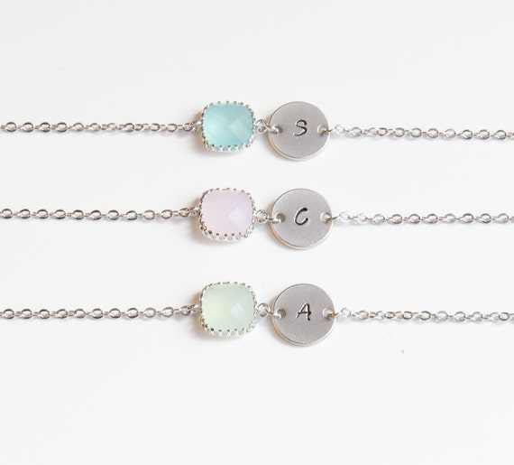 Birthstone & Initial Bracelet