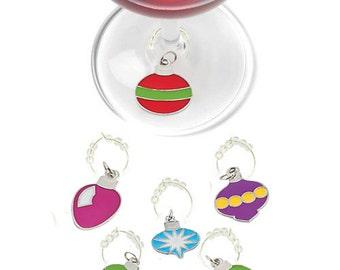 Christmas Ornament Wine Charms,  Holiday Wine Charms, Christmas Glass Tags, Christmas Glass Markers, Wine Glass Charms, Christmas Gifts