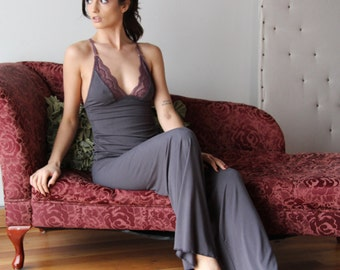 bamboo pajama set with lace trim and wide legs - ICON bamboo sleepwear and lingerie range - made to order