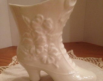 RARE Vintage White Ceramic Grannie Boot Planter/Vase
