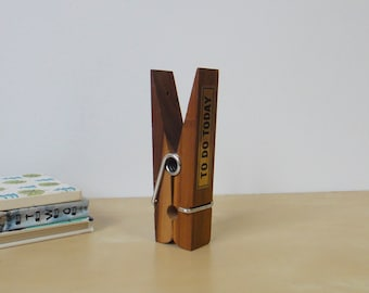 Vintage Oversized Wooden Clothespin Desk Accessory - To Do Today