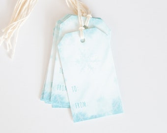 Winter Gift Tag - Let it Snow - Holiday Packaging - Hanging Tag - Blue Watercolor Snowflakes - Hand Lettered