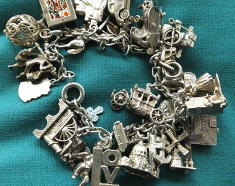 Sterling Silver Charm Bracelet - 30 Charms - 85.5g