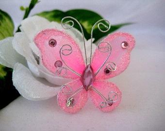 "50 Pink Nylon Butterflies for Baby Shower, Wedding Decor, Flower Arrangement, Table Scatters, Christening Favors, - 2"" x 2"""