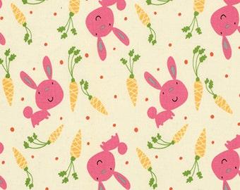 Sale - Pink Bunny Fabric, Easter Quilt Fabric, Free Spirit Garden PWDW080 Pink, David Walker, Rabbit Fabric, Bunnies & Carrots, Cotton