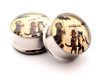 Vintage Cats with Umbrellas Picture Plugs gauges - 16g, 14g, 12g, 10g, 8g, 6g, 4g, 2g, 0g, 00g, 7/16, 1/2, 9/16, 5/8, 3/4, 7/8, 1 inch