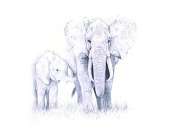 Elephant Family Fine Art Animal Giclee Print