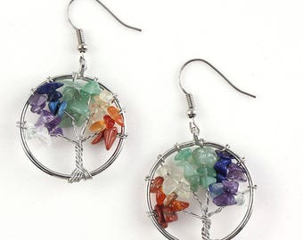 Tree Of Life Chakra Crystal Earrings - Silver Plate