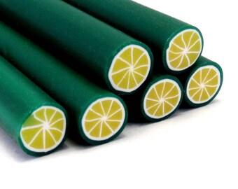 cane polymer clay (Fimo) lemon lime green