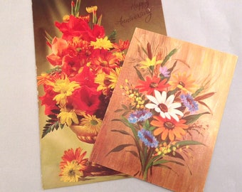 Vintage Kitsch Greeting Cards- Orange and Brown -Vintage Greeting Cards