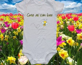 Cute as can bee - bee onesie , baby one-piece bodysuit shirt, bee, bumble bee, bee keepers baby
