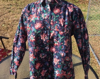 80s 90s Paris Sport Club Worldwide Floral Button Up With Collar