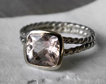 Cushion Morganite Ring in Handmade Palladium 14k White Gold, Recycled White Gold, Rope Twist Split Shank Ring, Pink Stone Rings
