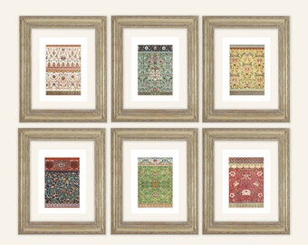 Set of 6 Chinoiserie Floral and Geometric Ornamental Patterns Antique Illustration Archival Print