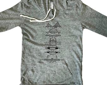 Portland bridges women's hoodie. Lightweight hoodie. Alternative apparel.