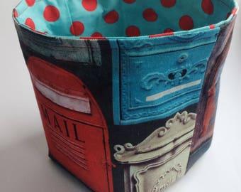 MEDIUM size fabric bin / mail caddy / bill holder / home office storage bin / stationery bucket / organizing bin