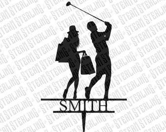 Shopping and Golf Bride and Groom Silhouette Laser Cut Personalized Wedding Cake Topper LGBT Friendly