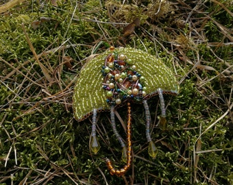 Elegant OOAK bead embroidery UMBRELLA brooch