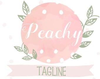 Peachy Premade Blog Header | Watercolor | Premade Logo