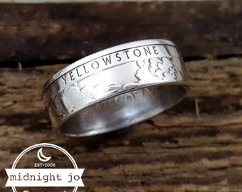 Yellowstone Coin Ring - 90% Silver Quarter Ring - National Park Quarter Ring - National Parks Coin Ring- Silver Coin Ring- Nature Lover Gift