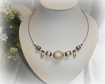 Antique ivory and copper Choker necklace