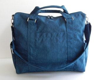 Sale - Navy blue Tote, water resistant, purse, messenger bag, diaper bag, travel bag, gym bag, overnight bag - KAREN