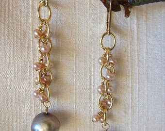 Grey and Pink Pearl 14K Gold Filled Handmade Earrings