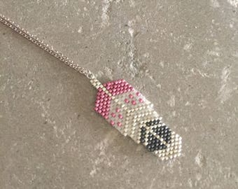 Necklace woven feather beads of 10 micron silver plated Pink/Pearl/gray Japan