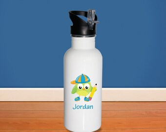 Owl Kids Water Bottle - School Owl with Name, Child Personalized Stainless Steel Bottle BPA Free Back to School