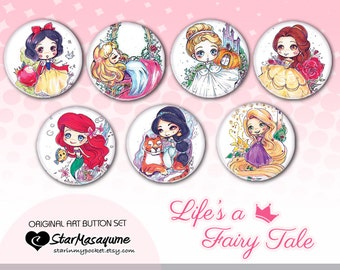 Princesses Anime Art Buttons