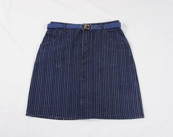 Vintage High Waist Denim Skirt| 80s 90s Jordache Jean Skirt| Striped Denim Skirt