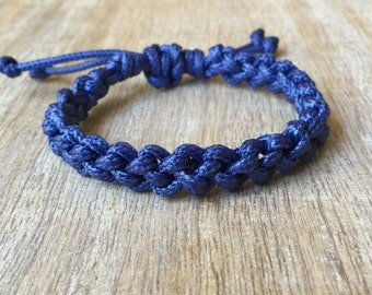 Braided Bracelet, Waxed Cord Bracelet, Blue Bracelet, Surfer Bracelet, Waterproof  WB001298