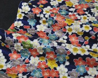 "10.7""w. x 22.8""l. Japanese vintage silk kimono fabric colorful ume plum blossom in blue 3147J"